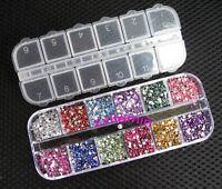 3000pcs Rhinestones Nail Art Case Assorted Mix Gem Designs Tips UV Gel Deco