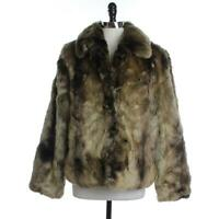 Timeless NEW Womens XL Brown Combo Chic Faux Fur Hook & Eye Fully Lined Collar