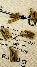 Alphabet letter M charm bronze vintage style jewellery supplies C32