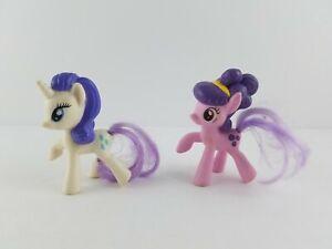 "Lot (2) 2016 Hasbro My Little Pony Rarity 2"" Figures Pink & White (Purple Hair)"