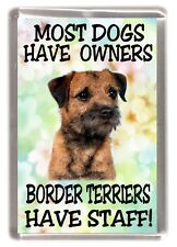 "Border Terrier Fridge Magnet ""Most Dogs Have Owners Borders Terrier Have Staff"""
