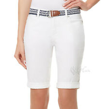 f0f1a6fc1a Womens Bandolino Riley White Belted Bermuda Roll Shorts Size 10