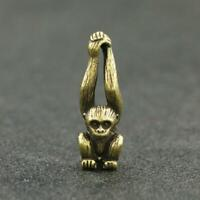 Antique Brass Monkey Statue Small Pendant Chinese Zodiac Pocket Gift Ornament