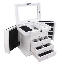 AU Large White Jewellery Ring Wooden Boxes Storage Case Mirror Display Organizer