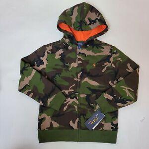 Polo Ralph Lauren Boys Full Zip Sweater Camouflage Sz 7 Green