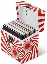 Vinyl Record Storage Box And Carrying Case for 45 RPM Records - Swirl Red