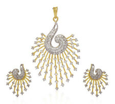 American Diamond Gold Plated Studded Diamonds Necklace Earring Jewellery Set