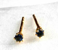 2mm Unisex Trainer Tiny Studs Earrings Simulated Diamond 24K Yellow Gold Plated