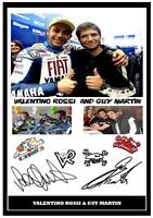 16.VALENTINO ROSSI & GUY MARTIN MOTO GP-SUPERBIKES SIGNED A4 PHOTOGRAPH .