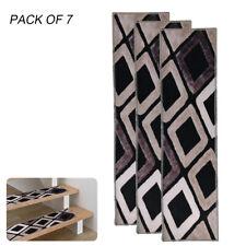 """7Pcs 30""""x8"""" PVC Carpet Stair Treads Non Slip Skid Back Runner Mats Stairway Rug"""