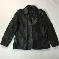 Woodland Leather Black Soft Leather Boyfriend Jacket Blazer UK 16 - 18 Pockets