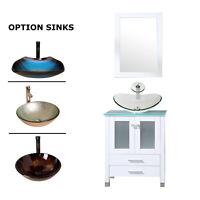 24'' White Bathroom Vanity Cabinet ,Vessel /Round Glass Sink, w/Faucet Mirror