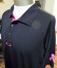 Oakley Golf Polo Shirt Men's Breast Cancer Awareness Logo Brand New >Medium Rare