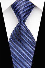 PT0611 Blue Black Stripe New Silk Jacquard Woven Man's Casual Tie Necktie NT