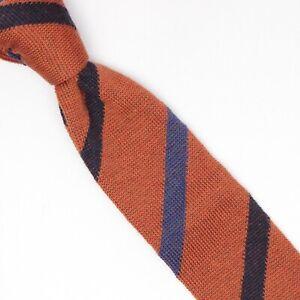 Gladson Mens Knit Wool Necktie Orange Navy Medium Blue Stripe Square Tip Tie