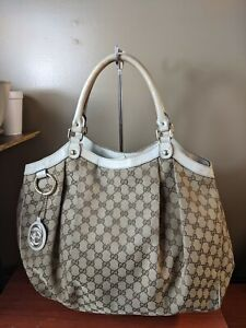 Auth Gucci Large sukey Beige With Leather Trim Shoulder Bag