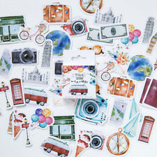 46pcs Adhesive Sticker Vintage Classic Travel Stickers DIY Scrapbooking Stickers