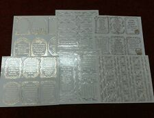 Pinflair 6 Sheets  PACK 4 Verses and Borders, Occasions Peel Offs silver/gold.