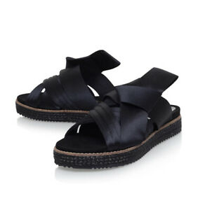 Kurt Geiger London Slip On Sandals Black Flats Designer Leather Size 7.5 / EU 38