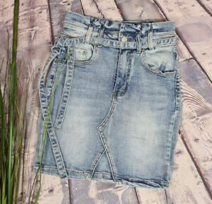Damen Jeans Rock Paperbag Stretch Gürtel Waterjeans Denim XS 34 36