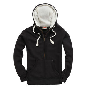Cotton Ridge Hoodie, Half Sherpa Front Panel, Thumb Hole Cuffs Size XL Black
