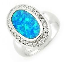 Sterling Silver Oval Opal Ring with Cubic Zirconia Size 8