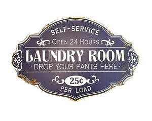 Laundry Room Vintage Style Metal Decorative Wall Sign in Distressed Blue