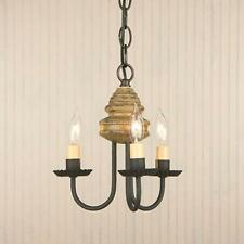 Country new smaller 3 arm BELLVIEW  pearwood wood chandelier / FREE SHIP