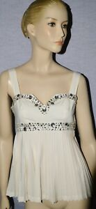 ARDEN B. SZ S SMALL OFF WHITE SILK RHINESTONE PLEATED CAMI TOP EXCELLENT