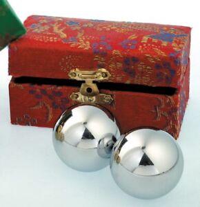 Qi Gong Kugeln silberfarben Klangkugeln silber Glanz Massage Meditation