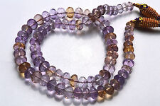 """16"""" Finest Natural Ametrine Faceted Rondelle BEADS NECKLACE 7 TO 8 MM"""