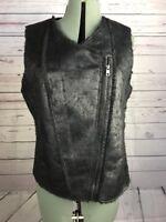 Marc New York Andrew Marc Faux Fur Vest Black Moto Style Zip Front Sz Med