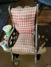 Vintage Sewing Pincushion Rocking Chair With 6 Spool Holders