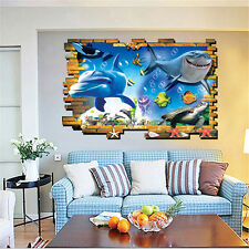 3d Ocean Sea Dolphin Shark Home Decor Removable Wall Sticker Decals Vinyl Mural