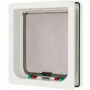 Pet Mate 4 Way Locking Small Dog Flap White - Large Cat 221WD