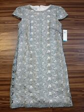 Ivy&Blu Maggy Boutique Shiny Silver Embroidery Floral Cap Sleeve Dress ~Women 2~