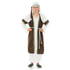 Kids Brown Shepherd Costume – Childrens Nativity Play Fancy Dress Boys Girls L - Large