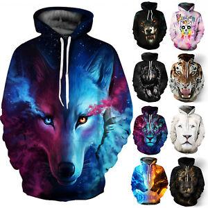 Women Men Wolf Hoodie Jumper Unisex Sweater Coat Tops Hoody Sweatshirt Pullover