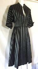 R & K Original Vintage 1940's Black Silver Striped Shapely Dress Size 14 L XL