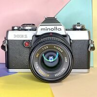 Minolta XG 1 35mm Slr Film Camera W/  F2.8 28mm & X0.7 Conversion Lenses! Lomo
