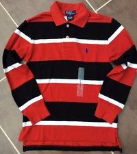 POLO RALPH LAUREN RED, BLACK & WHITE STRIPE LONG SLEEVE POLO SHIRT BNWT AGE 7/8
