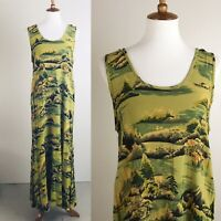 Citron Santa Monica Dress Long Maxi Hawaii Print Tank Hawaiian Green Yellow