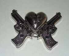 Novelty Style Two Guns And A Broken Heart Unisex Belt Buckle Silver Tone Metal