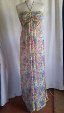 Peacocks Everyday Style Full Length Sun Dress Elasticated Bodice Halterneck Sz S