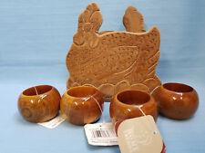 Vintage Wood Hen Napkin Holder & 4 New Napkin Rings Dinning Table Decor Brown