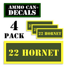 "22 HORNET Ammo Can 4x Label Ammunition 3""x1.15"" Caliber sticker decals 4 pack AG"