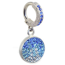 Silver jeweled Tummytoys belly ring with dangling blue crystal paved circle