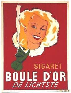 Original vintage poster BOULE D'OR BELGIAN CIGARETTES 1945