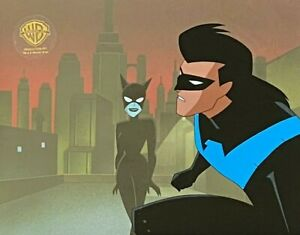 BRUCE TIMM rare NIGHTWING CATWOMAN cel YOU SCRATCH MY BACK rooftop BTAS WB COA