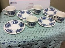 Blue Carnation Ironstone 4235 Made In Japan 4 Coffe Cup 4 Saucers